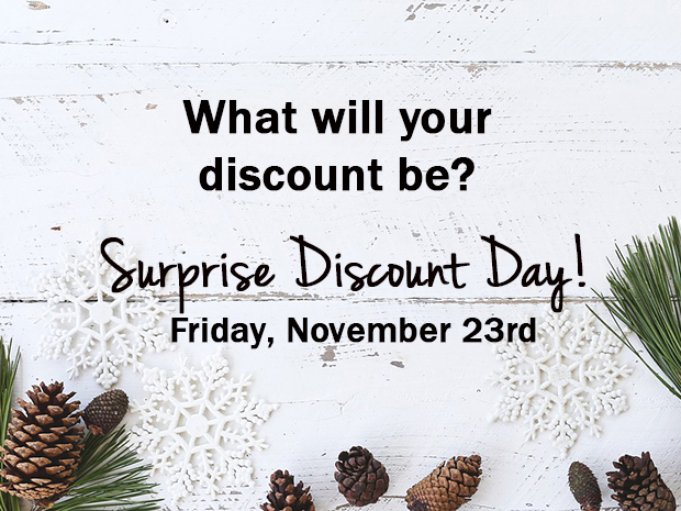 November 23rd, 2018 – Surprise Discount Day!