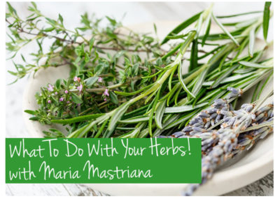 June 2nd, 2018 – What To Do With Your Herbs with Maria Mastriana